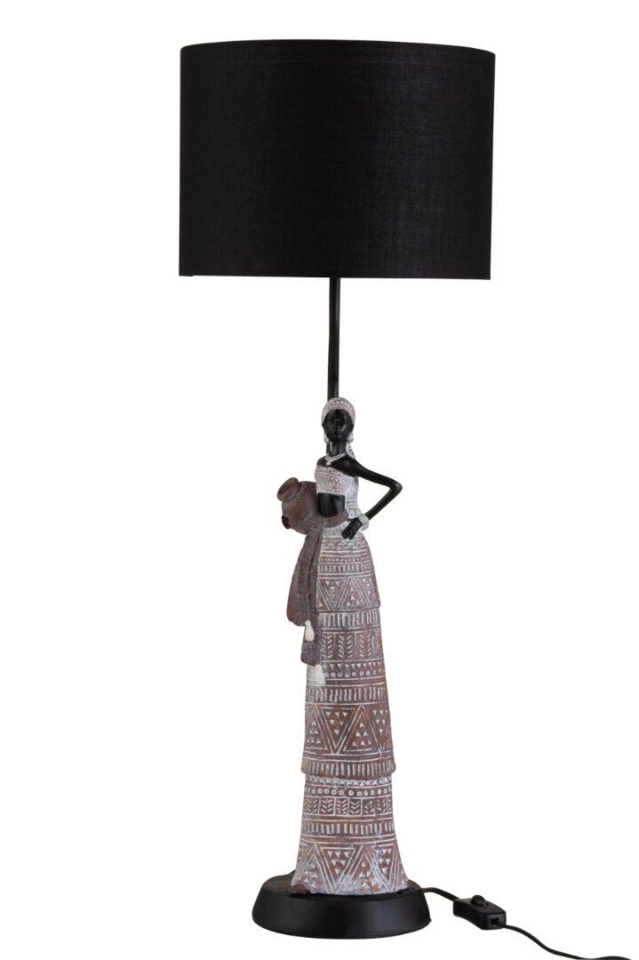 Lampe femme Africaine ethnique résine