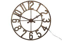 Horloge chiffres romains rond fer forge + LED