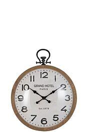 Horloge ronde boule verre bois naturel 87937