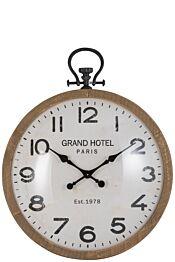 Horloge ronde boule verre bois naturel